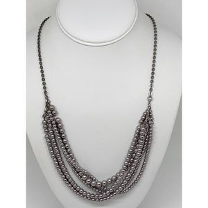J. Crew Gray Pearl Silver Necklace